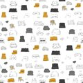 Couch seamless pattern. Vector hand drawn illustration.