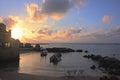 Coucher du soleil au dessus du port de césarée image de hdr Images libres de droits