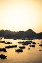 Coucher du soleil de port de cat ba Photographie stock libre de droits