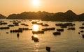 Coucher du soleil de port de cat ba Image libre de droits