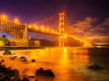 Coucher du soleil golden gate bridge Photographie stock libre de droits
