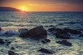 Coucher du soleil sur la c te de l océan atlantique au maroc Photographie stock libre de droits