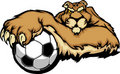 Cougar Mascot with Soccer Ball Illustration Stock Photography