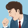 Coughing Man Vector Illustration