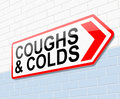 Coughs and colds concept illustration depicting a sign with a Stock Photo