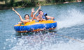 Couiple on water attractions during summer Royalty Free Stock Photos