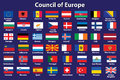 Council of Europe flags Royalty Free Stock Image