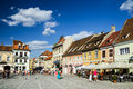 Council square brasov romania august image with tourists in taken on nd august is medieval center of city in Stock Photography