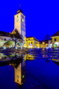 Council tower in Sibiu at night Royalty Free Stock Image