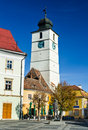 Council tower in sibiu romania built th century placed large square transylvania Royalty Free Stock Image