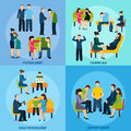 Counseling Support 4 Flat Icons Square