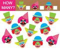 Count how many clowns. Learning numbers, mathematics. Game for c