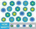 Count how many doodle flowers. Learning numbers, mathematics. Ga