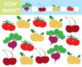 Count how many fruits, berries and vegetables. Learning numbers,