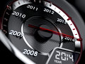 Countdown concept d illustration of year car speedometer Stock Photo