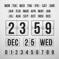 Countdown timer and date calendar scoreboard vector numbers Royalty Free Stock Photos