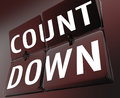 Countdown word retro clock flipping tiles deadline now on a with illustrating a or important ending or completion date for a job Stock Photography