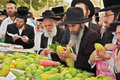 Counter with citron bnei brak israel september traditional market before the holiday of sukkot religious jews in black hats and Royalty Free Stock Images