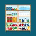 Counter with food in magazine. Supermarket interior design. Market vector flat illustration. Set with bottles