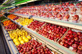 Counter with fruits in supermarket Royalty Free Stock Images