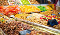 Counter with nuts and dried fruits sweet on store Royalty Free Stock Photography