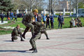 Counter terrorist show kherson ukraine april anti special units their skills at the on april in kherson ukrainian special units Royalty Free Stock Image