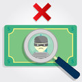 Counterfeit money or stolen a magnifying glass focusing on a thief with an x Royalty Free Stock Images