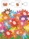 Counting butterflies colorful flowers illustration top is your sample text Stock Photo