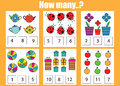 Counting educational children game how many objects task learning mathematics numbers addition theme Royalty Free Stock Image