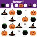 Counting educational children game, kids activity. How many objects. Halloween theme