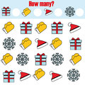 Counting educational children game, kids activity. How many objects task. Christmas, new year winter holidays theme