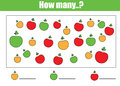 Counting educational children game, kids activity. How many objects task Royalty Free Stock Photo