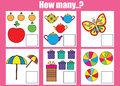 Counting educational children game kids activity how many objects task sheet learning mathematics numbers addition theme Stock Photo