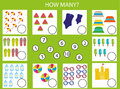 Counting educational children game, kids activity. How many objects task. Summertime theme