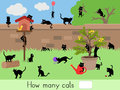 Counting educational children game, kids activity sheet. How many cats