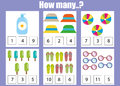Counting educational children game, kids activity worksheet. How many objects. Learning mathematics