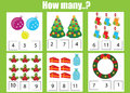Counting educational children game, kids activity worksheet. How many objects task, christmas, winter holidays theme