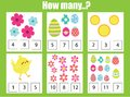 Counting educational children game, math kids activity. How many objects task. Easter theme. Addition worksheet