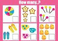 Counting educational children game, math kids activity. How many objects task Royalty Free Stock Photo