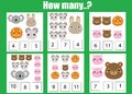 Counting educational children game, math kids activity. How many objects task. Animals theme