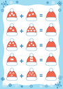 Counting Educational Game. Addition Christmas worksheet Royalty Free Stock Photo