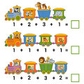 Counting educational game for children addition worksheets preschool a mathematical count the animals on the train and write the Royalty Free Stock Photo