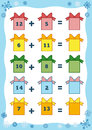 Counting educational game for children addition worksheets preschool a mathematical count the numbers in the picture and write the Stock Images