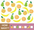 Counting educational game for children. How many fruits apple, pear, orange, banana. Learning numbers, mathematics.