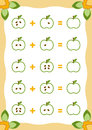Counting Game for Children. Addition worksheets with apples
