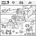 Counting Game for Children. Educational game. Girl on the beach