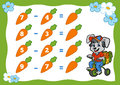 Counting Game for Children. Subtraction worksheets. Rabbit Royalty Free Stock Photo