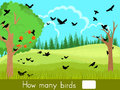 Counting game. How many birds Royalty Free Stock Photo