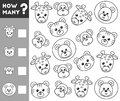 Counting Game for Preschool Children. Count how many animals Royalty Free Stock Photo