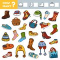 Counting Game for Preschool Children. Educational a mathematical game. Count how many boots, socks, hats and bags